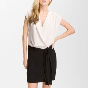 DVF Reara Draped Silk Colorblock Black Pink Dress